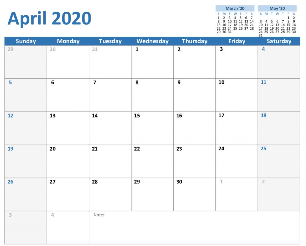 2020 April Calendar Excel