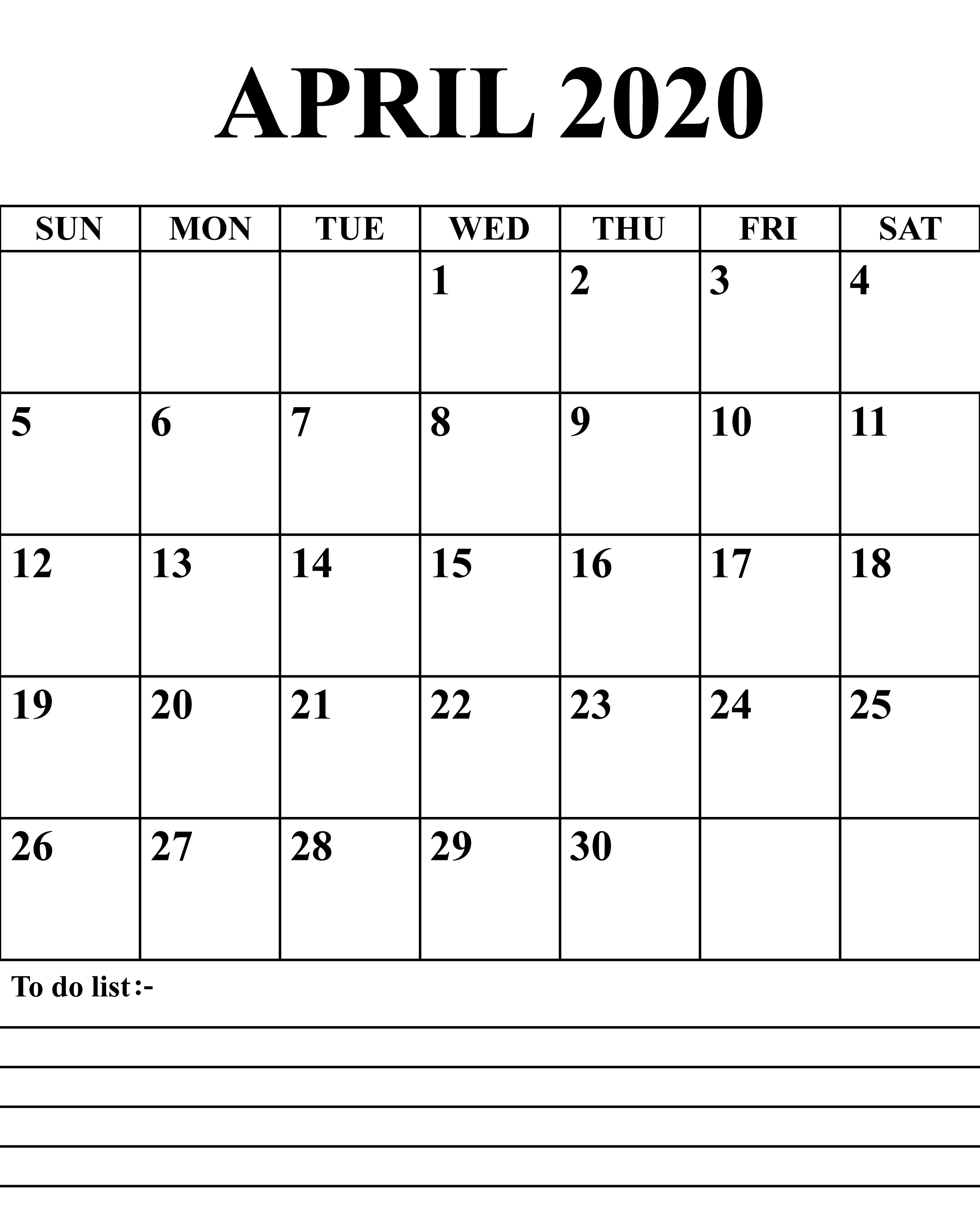 Printable April 2020 Calendars  |April 2020 Calendar