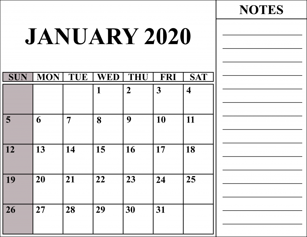 picture relating to January Calendar Printable identified as Free of charge Blank January 2020 Calendar Printable in just PDF, Phrase