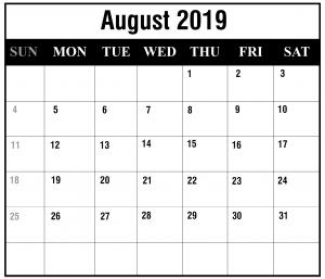 August 2019 Calendar Printable