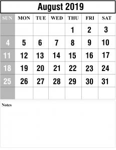 August Calendar 2019 Template