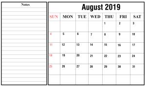2019 August Calendar PDF