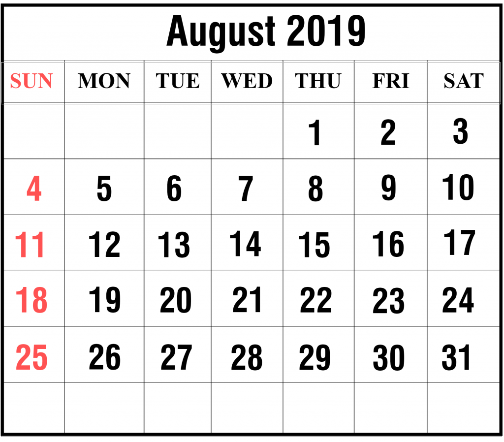 picture regarding Printable August Calendar referred to as Blank August 2019 Calendar Printable inside of PDF, Term, Excel