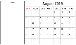 2019 August Calendar With Holidays