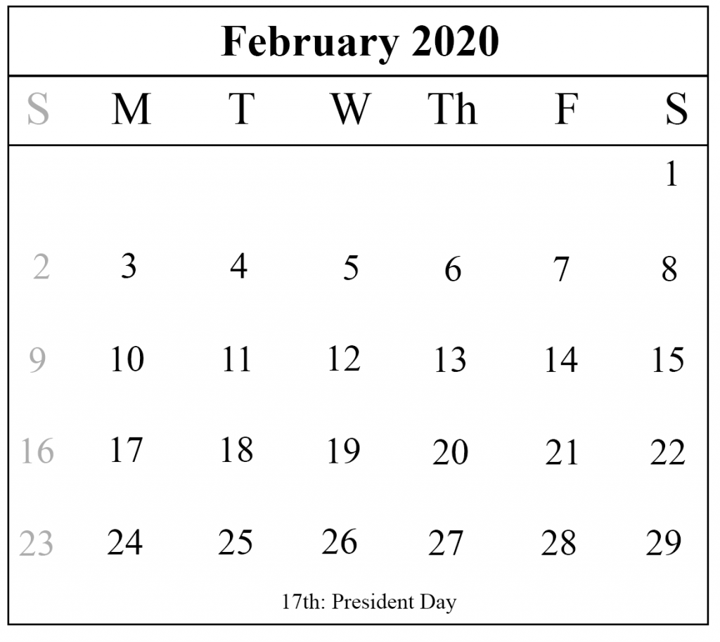 photo regarding Printable Calendar February called Blank February 2020 Calendar Printable Template PDF Term