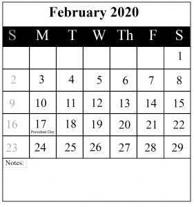 Free 2020 February Portrait Calendar