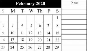 2020 February Landscape Calendar Template