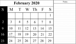 February 2020 Calendar PDF Template