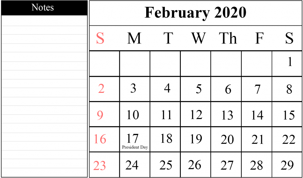 February Calendar 2020 With Notes Blank February 2020 Calendar Printable Template – PDF Word Excel