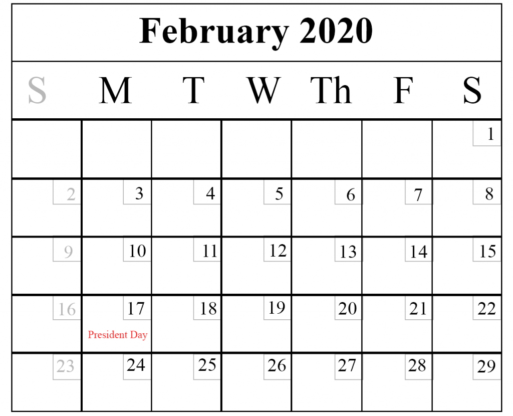 February 2020 Calendar Holiday In Usa Blank February 2020 Calendar Printable Template – PDF Word Excel