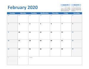 February 2020 Excel Calendar Template