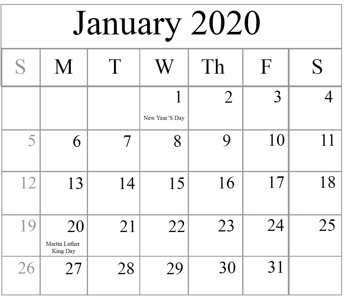 Printable January 2020 Calendar: Free Blank January 2020 Calendar Printable In PDF, Word, Excel