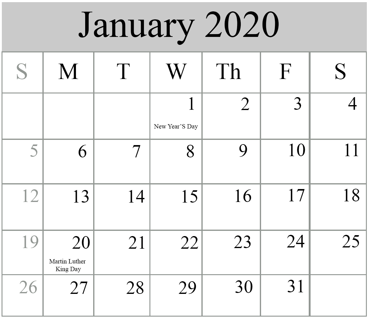 Jan 2020 Calendar With Holidays Free Blank January 2020 Calendar Printable in PDF, Word, Excel
