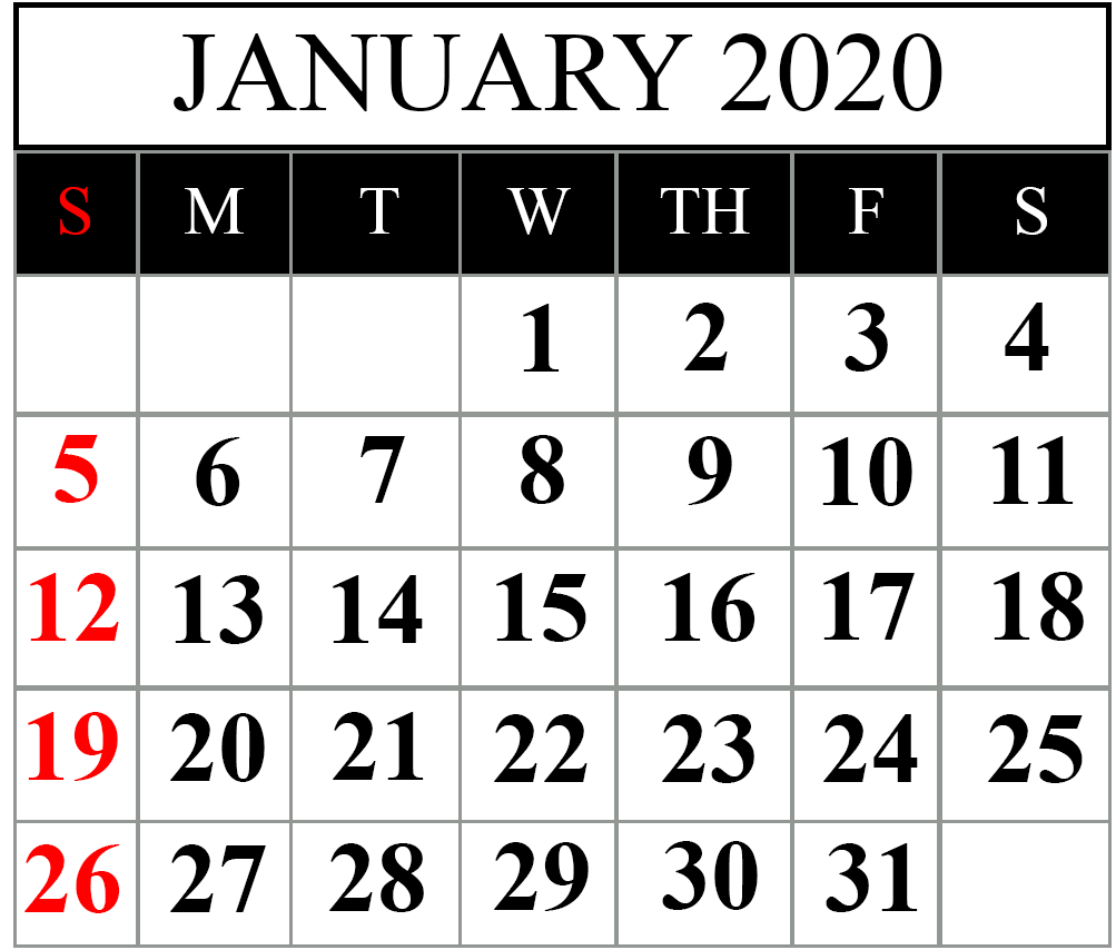 This is an image of Ambitious Free Printable Calendars January 2020