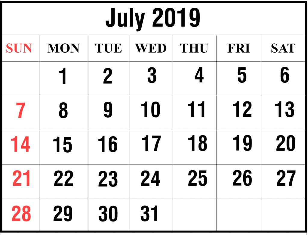 Printable Monthly Calendar 2019 July.Blank July 2019 Calendar Printable In Pdf Word Excel Printable