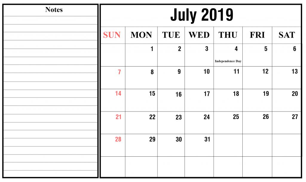 Blank July 2019 Calendar Printable in PDF, Word, Excel | Printable