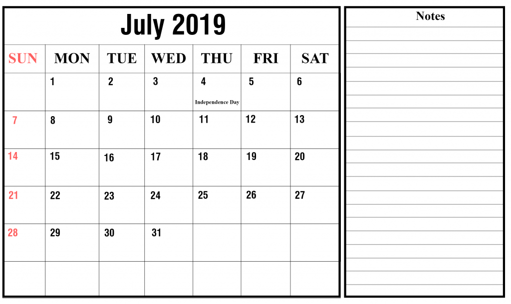 blank july 2019 calendar printable in pdf  word  excel