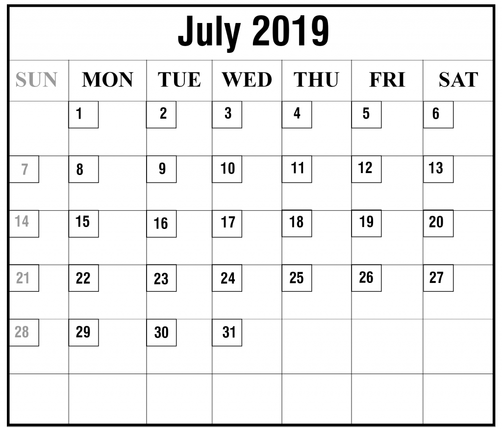 photo about Printable Julian Calendar identified as Blank July 2019 Calendar Printable inside PDF, Phrase, Excel