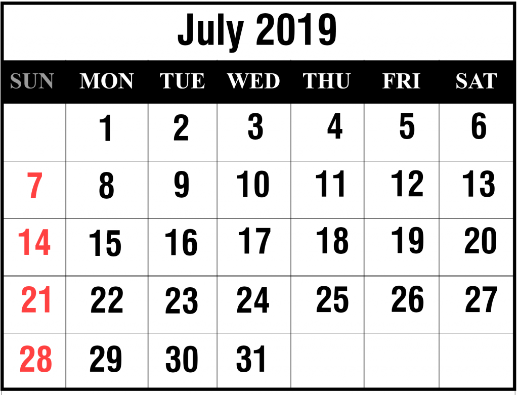 picture relating to Printable July Calendar called Blank July 2019 Calendar Printable within just PDF, Phrase, Excel