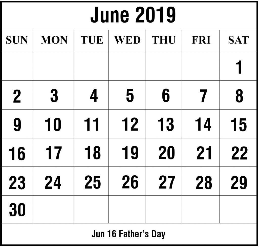 June Printable Calendar 2019