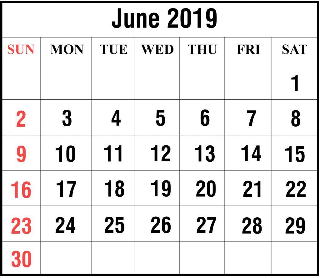 2019 June Calendar PDF