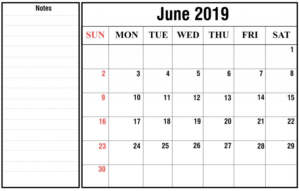 June 2019 To June 2020 Calendar Printable.Blank June 2019 Calendar Printable In Pdf Word Excel Printable
