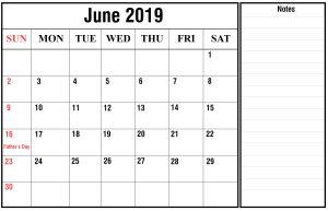 Free June 2019 Calendar Landscape