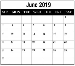 2019 June Portrait Calendar Template