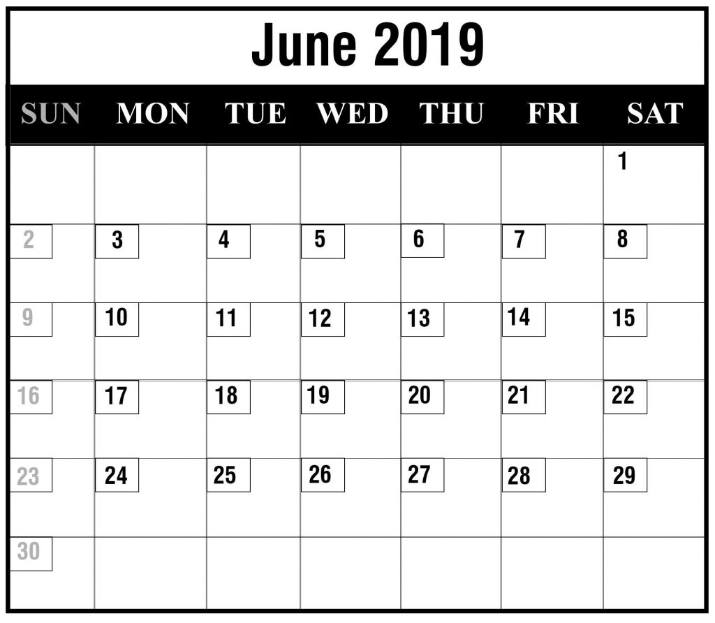 Free June 2019 Excel Calendar Template