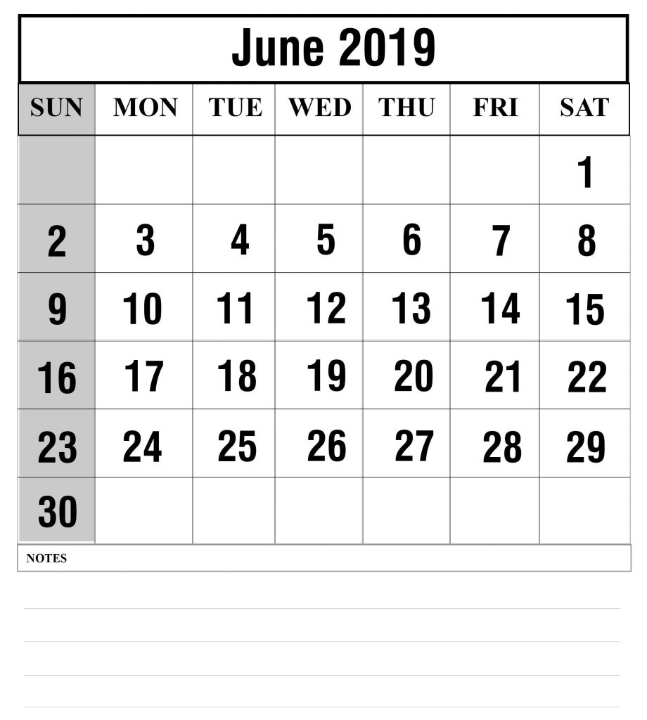 Blank June 2019 Calendar Printable in PDF, Word, Excel