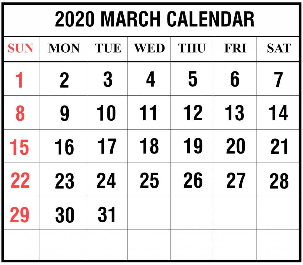 photograph relating to Calendar March Printable called Free of charge Blank March 2020 Calendar Printable within just PDF, Phrase, Excel