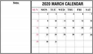 2020 March Calendar Landscape