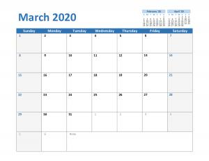2020 March Calendar Excel