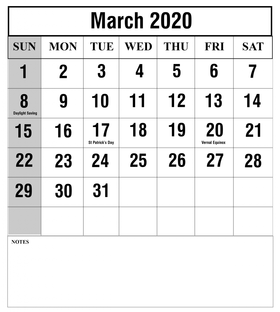 March 2020 Portrait Calendar
