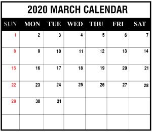 March 2020 Blank Calendar
