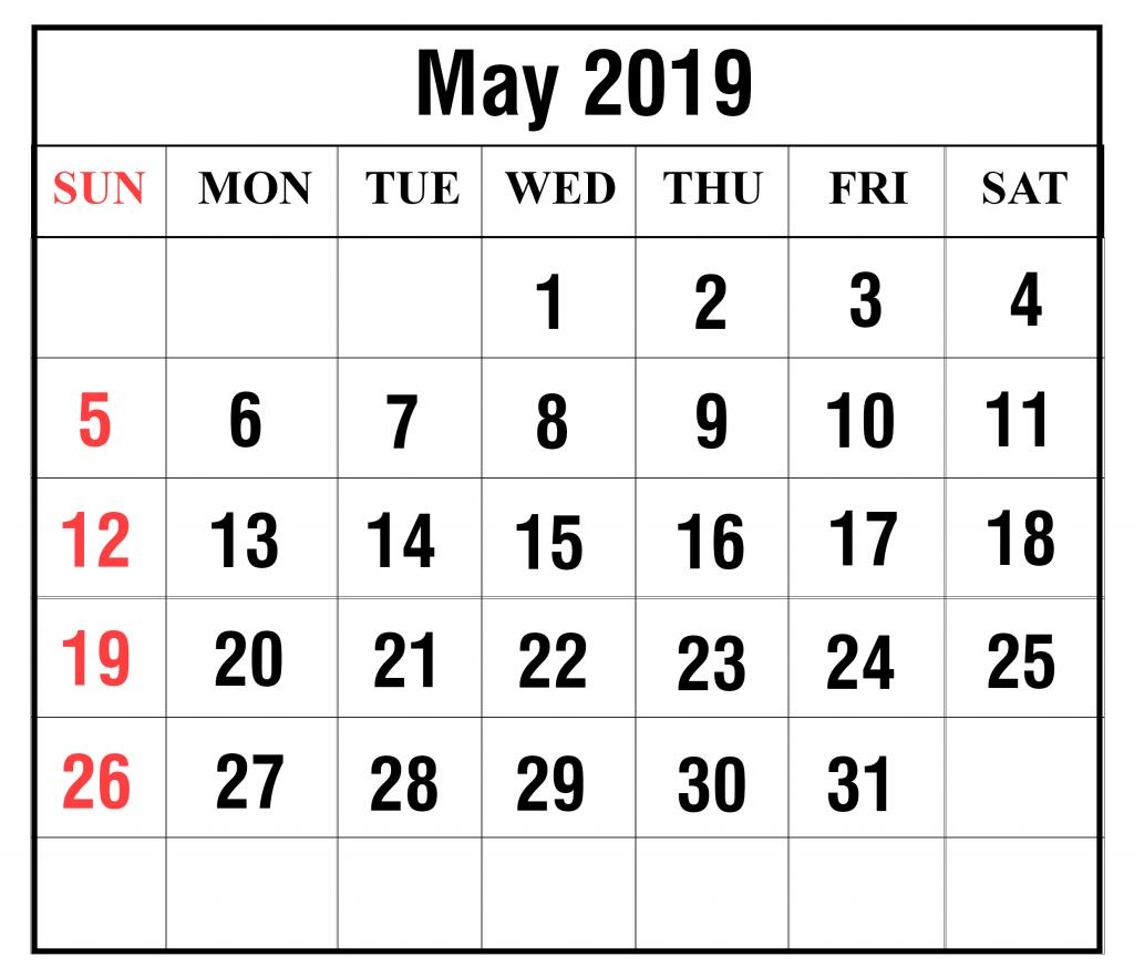 May 2019 Printable Calendar