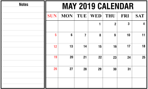 Free May 2019 Calendar PDF