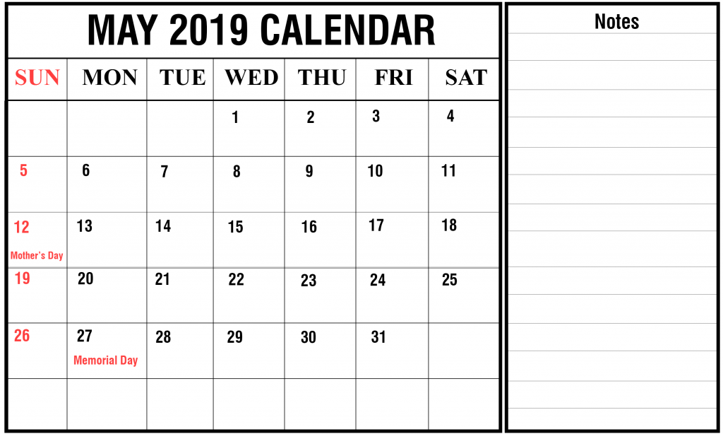 2019 May Landscape Calendar