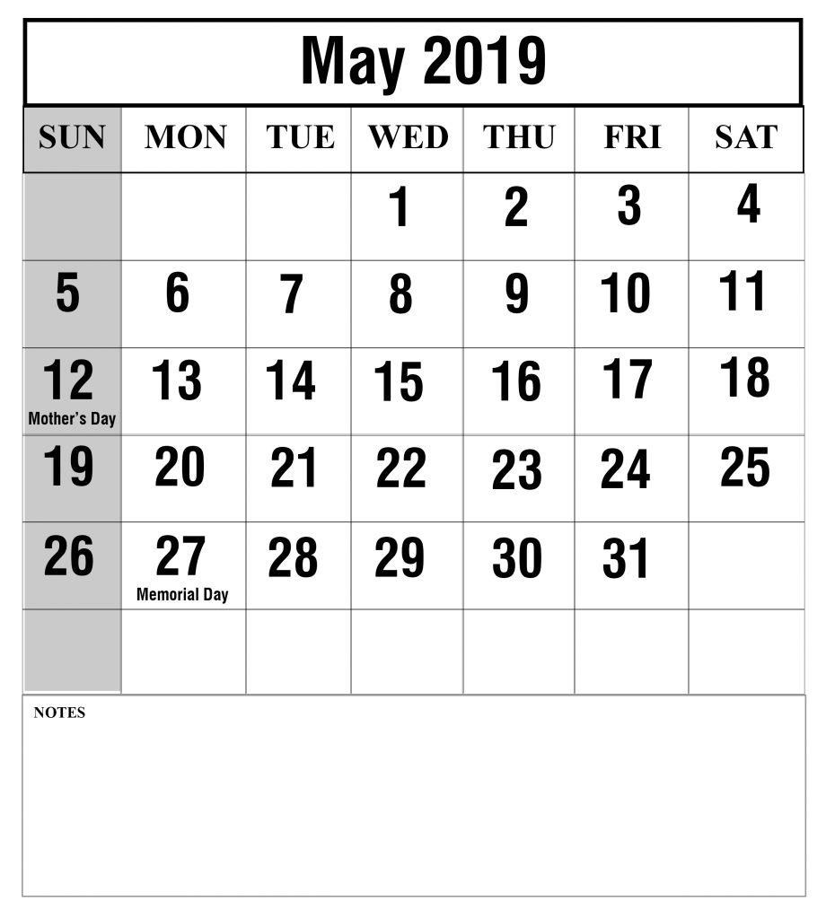 May 2019 Calendar With Holiday