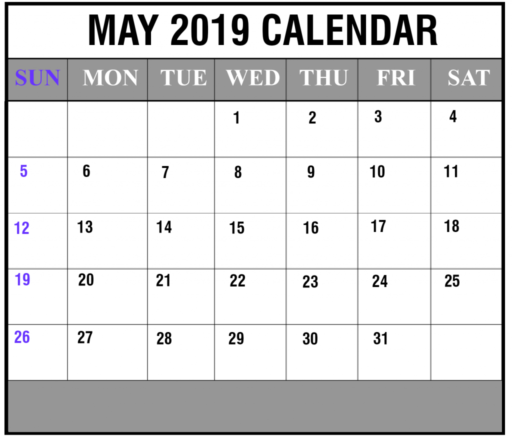 May 2019 Calendar Portrait Template