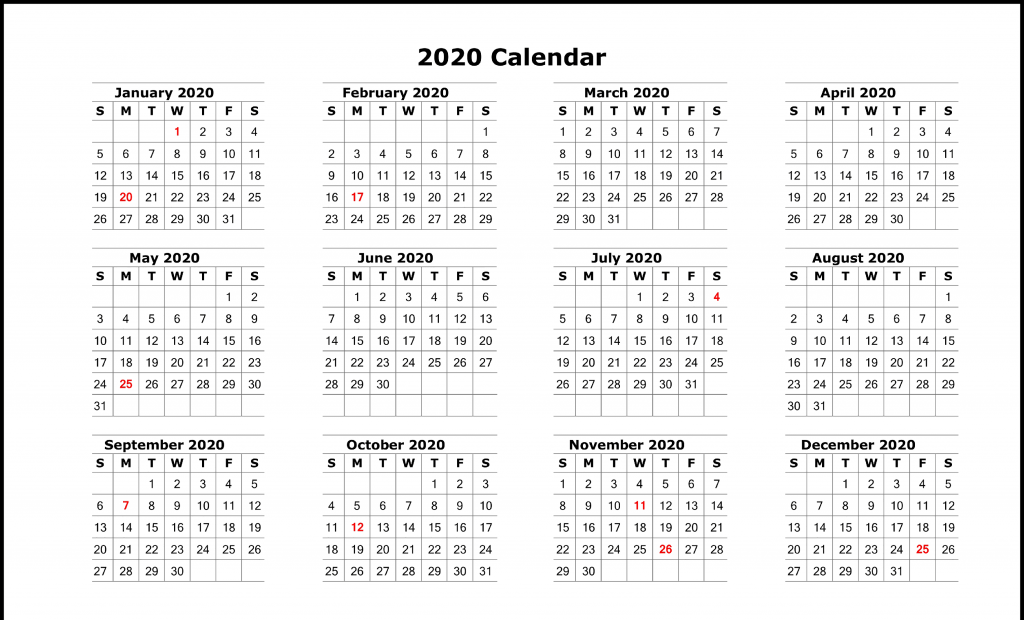 picture relating to Calendar 2020 Printable named Totally free Blank Printable Calendar 2020 Template inside of PDF, Excel