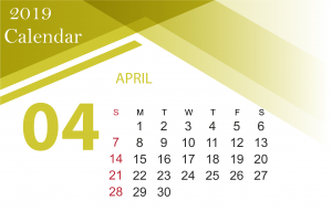 Free April 2019 Holiday Calendar Template