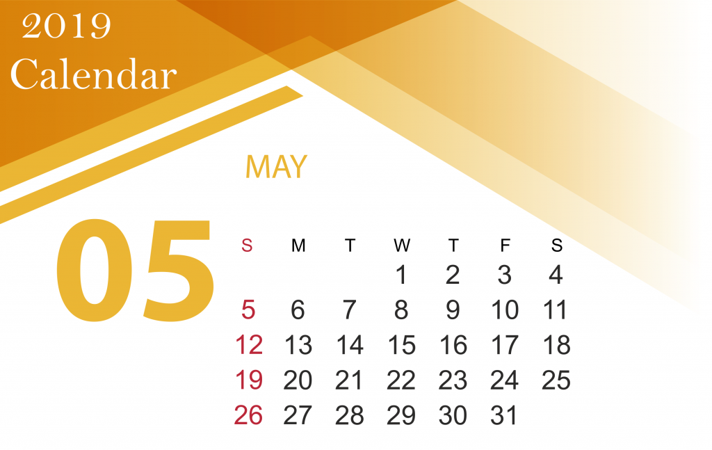 Free May 2019 Blank Calendar Template