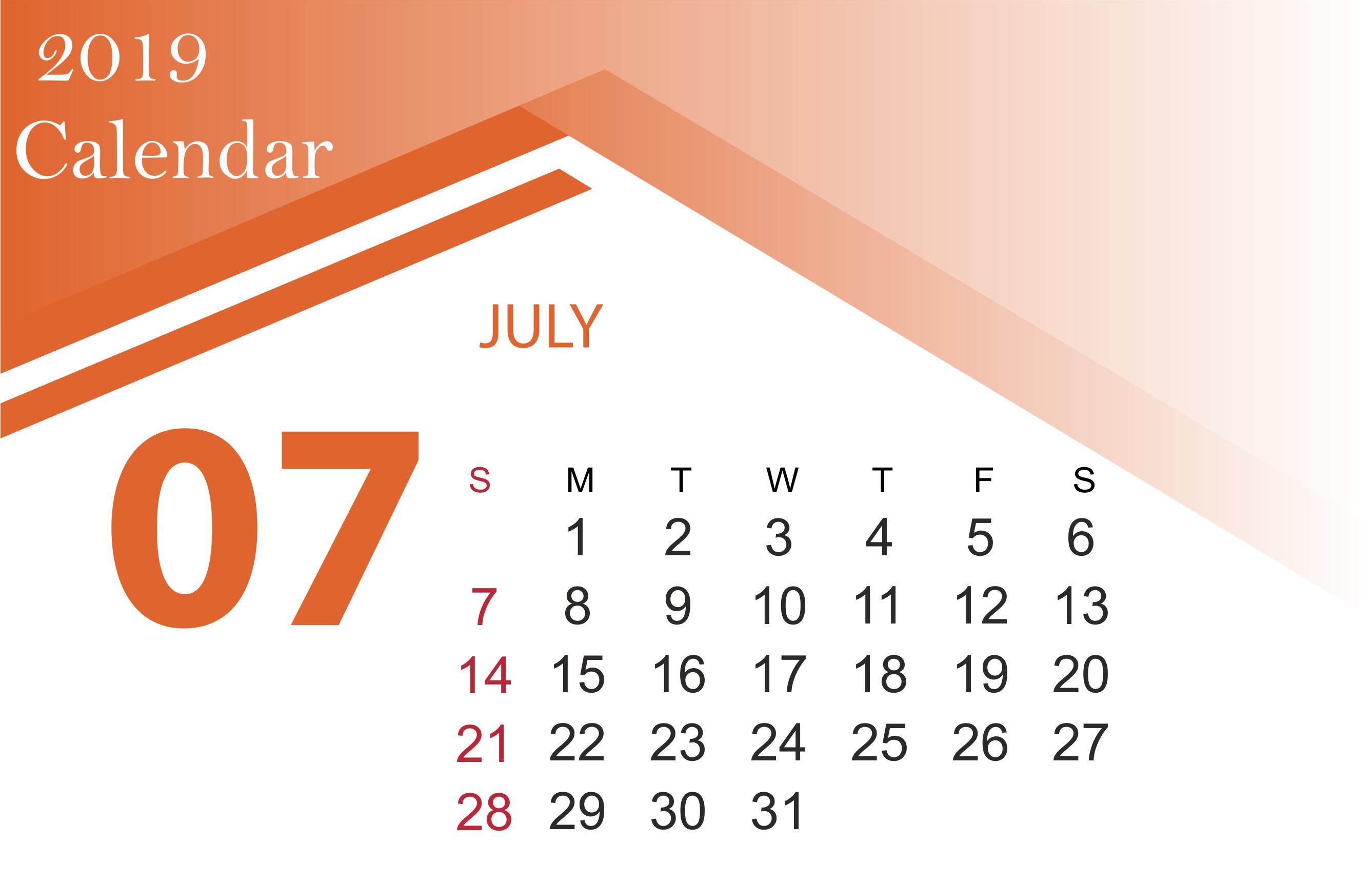 Free July 2019 Calendar Template