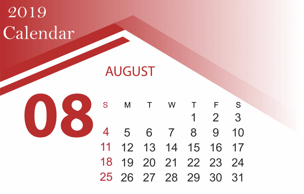 Free August 2019 Calendar Template Download