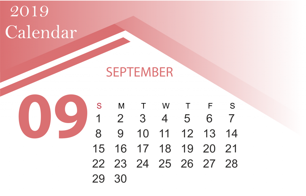 Printable September 2019 Monthly Calendar