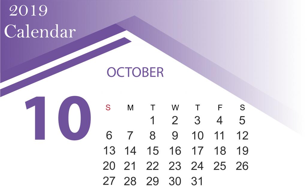 Free October 2019 Calendar Template