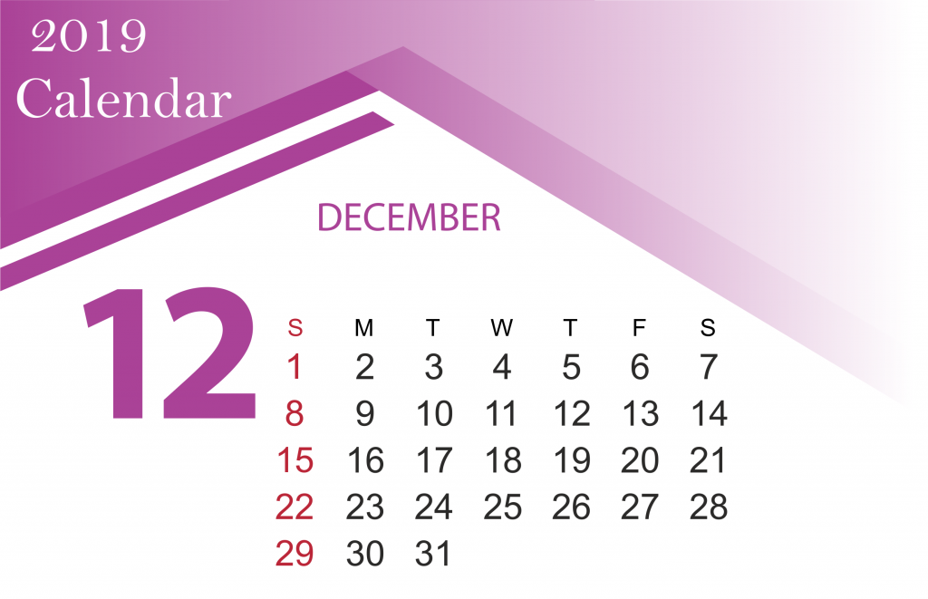 Free Printable December 2019 Calendar Template