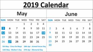 May June Calendar