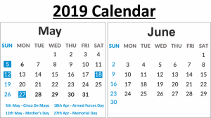 May & June 2019 Calendar